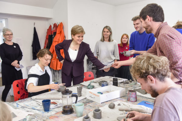 First Minister Nicola Sturgeon visits Studio Pavilion at House for an Art Lover nas part of Art in Action 2019